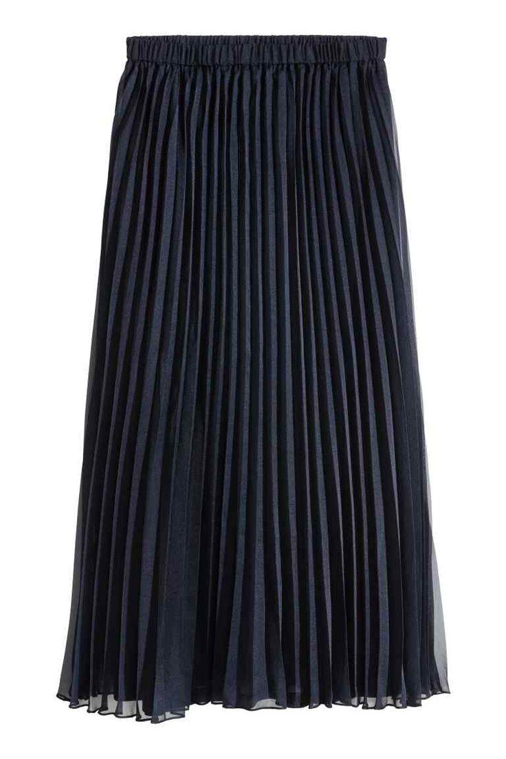 Jupe plissée - Bleu foncé - FEMME | H&M FR