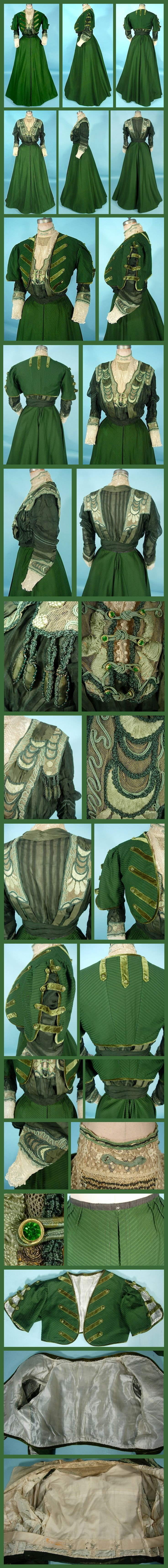 c. 1906/1907 A. H. METZNER, New York Green Ottoman Silk/Wool Fabric and Lace Trim 3-piece Afternoon Gown with Original Blouse. From antiquedress.com