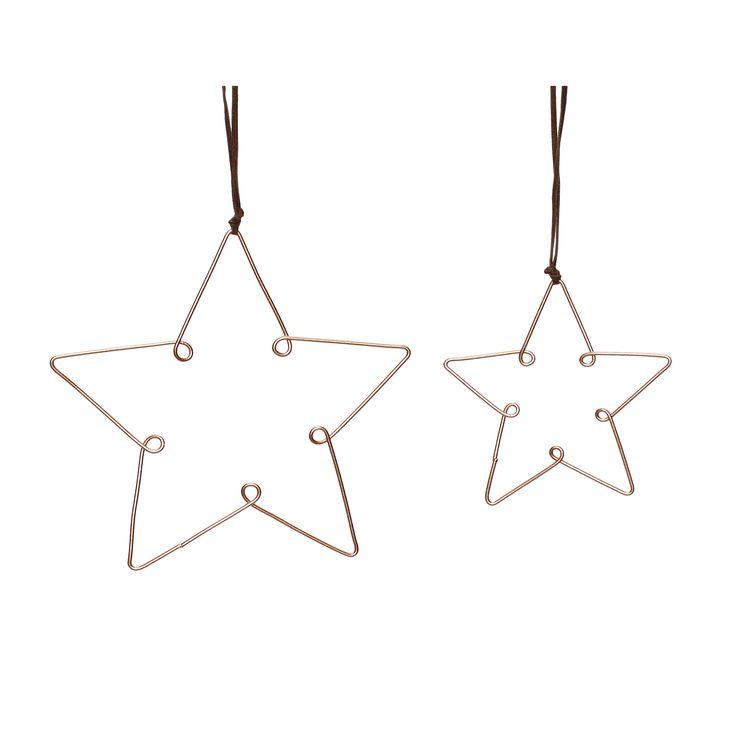 Koperen metalen sterren met een doorsnee van 10 en 14 cm.
