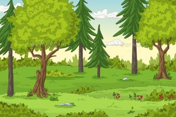 Cartoon Forest Landscape Forest Landscape Nature Vector Landscape Trees