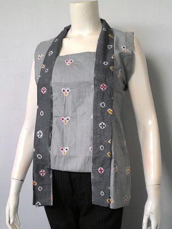 Kebaya Jumputan Kutu Baru Cotton Sleeveless Grey XL