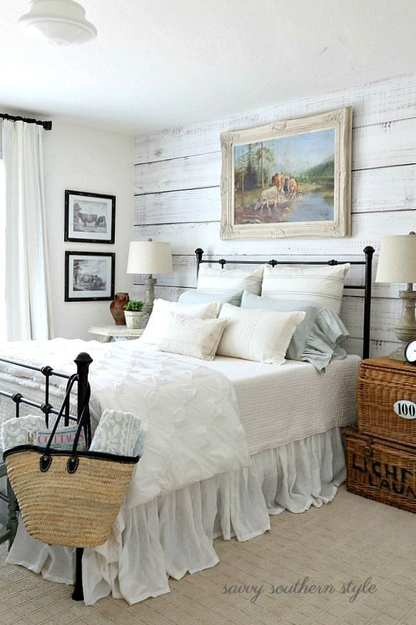 516 best cottage style bedrooms images on pinterest for Farmhouse guest bedroom
