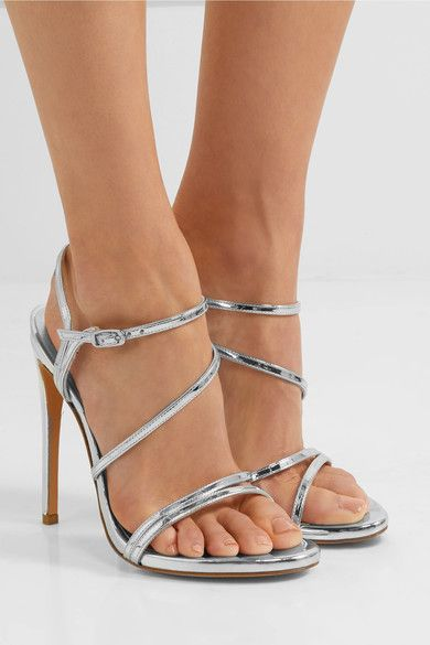 Stuart Weitzman | Follie metallic patent-leather sandals | NET-A-PORTER.COM
