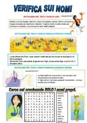 SCHEDE DIDATTICHE DI ITALIANO CLASSE PRIMA SCUOLA PRIMARIA: I NOMI (nomi comuni, propri, di persona, animale, cosa, singo...