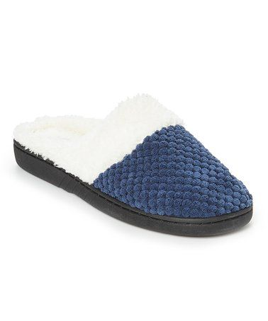 4ab086345450 Love this Navy Embossed Faux Fur–Lined Slipper - Women on  zulily!