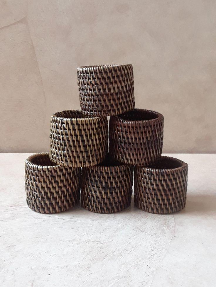 6 Vintage Wicker Napkin Rings, 6 Piece Weaved Napkin Holders, Rattan Napkin Holder Set, Table Decor, Home Decor