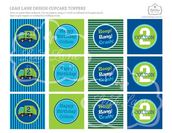Garbage/Recycle Truck Birthday Party Personalized Printable Cupcake Toppers by LeahLaneDesign on Etsy, $12.00