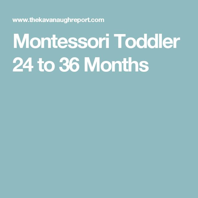 Montessori Toddler 24 to 36 Months