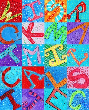 Opdracht 1:decoratief tekenen: kleurrijk alfabet