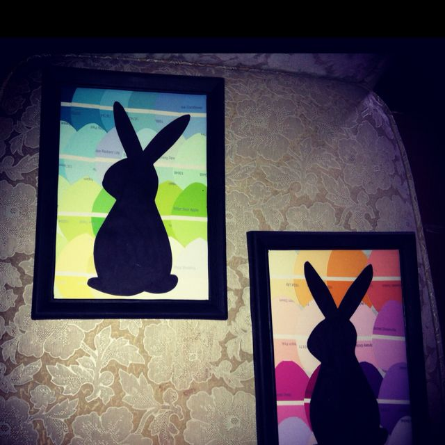 DIY Easter art using paint chips