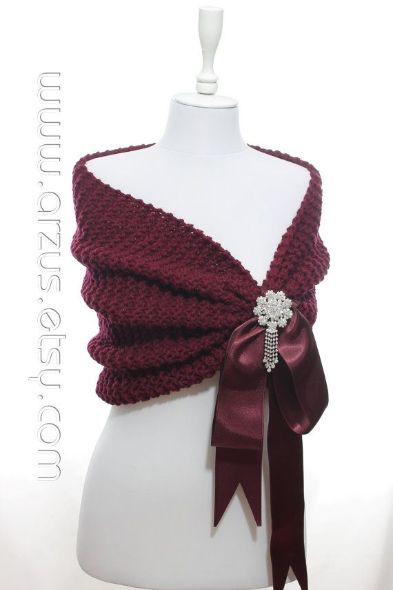 Wedding Shawl Bridal Shawl Bridal Wedding Stole Burgundy by Arzus - A Bat or crowbrooch instead