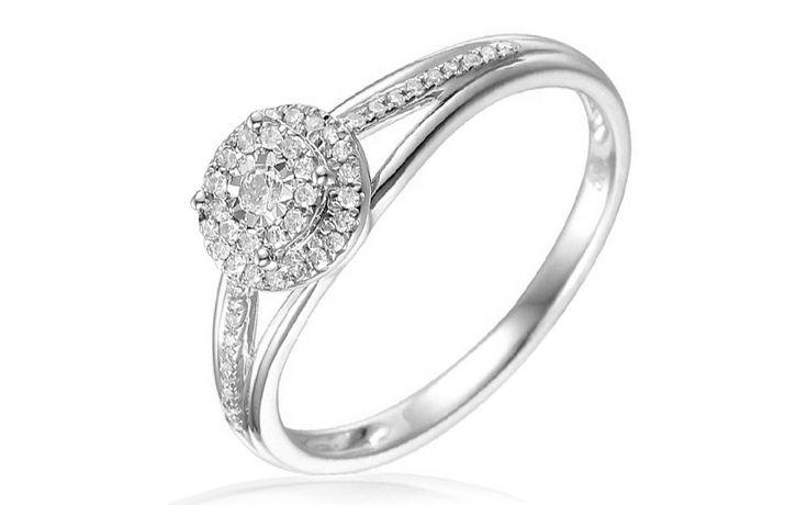 Zlatý zásnubní prsten s diamanty Gaia white