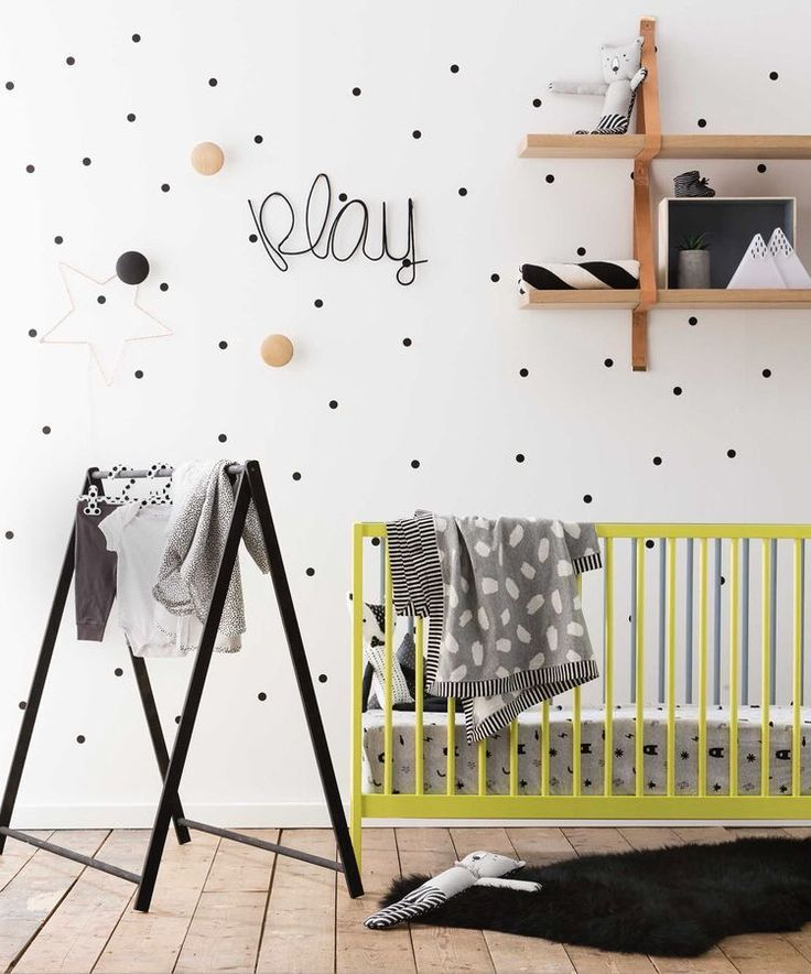 Gender neutral nursery with a pop of neon