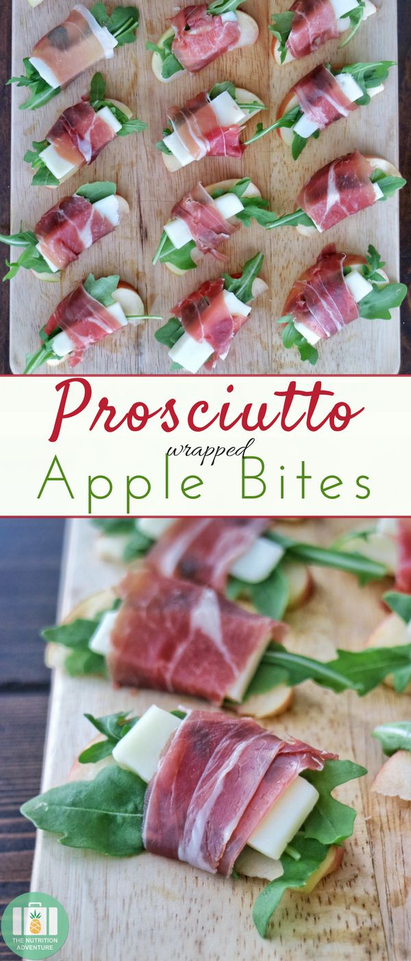 Only four ingredients needed to make these elegant, yet simple, Prosciutto Wrapped Apple Bites for an appetizer! #easy #holiday #glutenfreerecipe