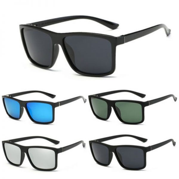 291f21d5fb4d New Black Square Frame Polarized Sunglasses Driving Mens Designer Retro  Eyewear