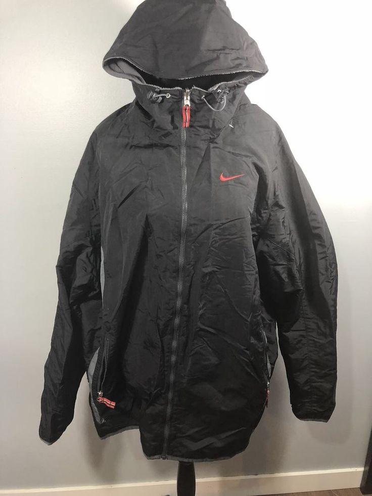 Mens Reversible Nike Coat XXL Black Grey Large Logo  | eBay