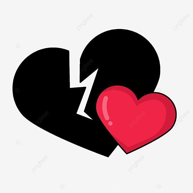 A Whole Red Heart And A Broken Black Heart Black Love Love Png Transparent Clipart Image And Psd File For Free Download Love Png Black Heart Clip Art