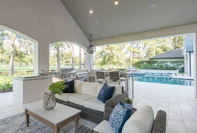 Pool Pavillion With Outdoor Kitchen Siding Is Painted Brick And Ceiling Is Tongue And Groove Paint Colors Are Specified Outdoor Pavillion Interior Design House