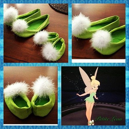 Tinkerbell Costume shoes Tink green fairy pixie bright lime green with pom poms Toddler-Children Sizes