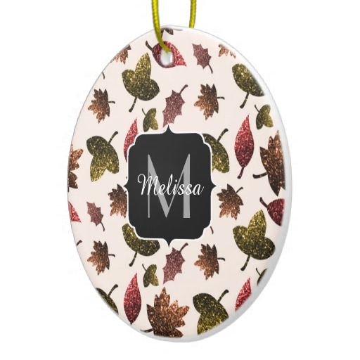 Personalize Sparkly leaves fall autumn pattern Monogram Ceramic Christmas tree Ornament by #PLdesign #holidays #homedecor #home @zazzle