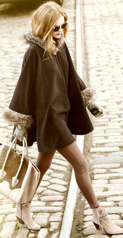 Street style fashion / karen cox. luxe brown fur trimmed coat and cute street style boots