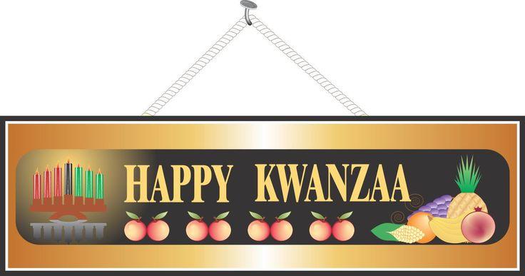 Happy Kwanzaa Sign with Gold Border, Corn, Fruit & Burning Kinara
