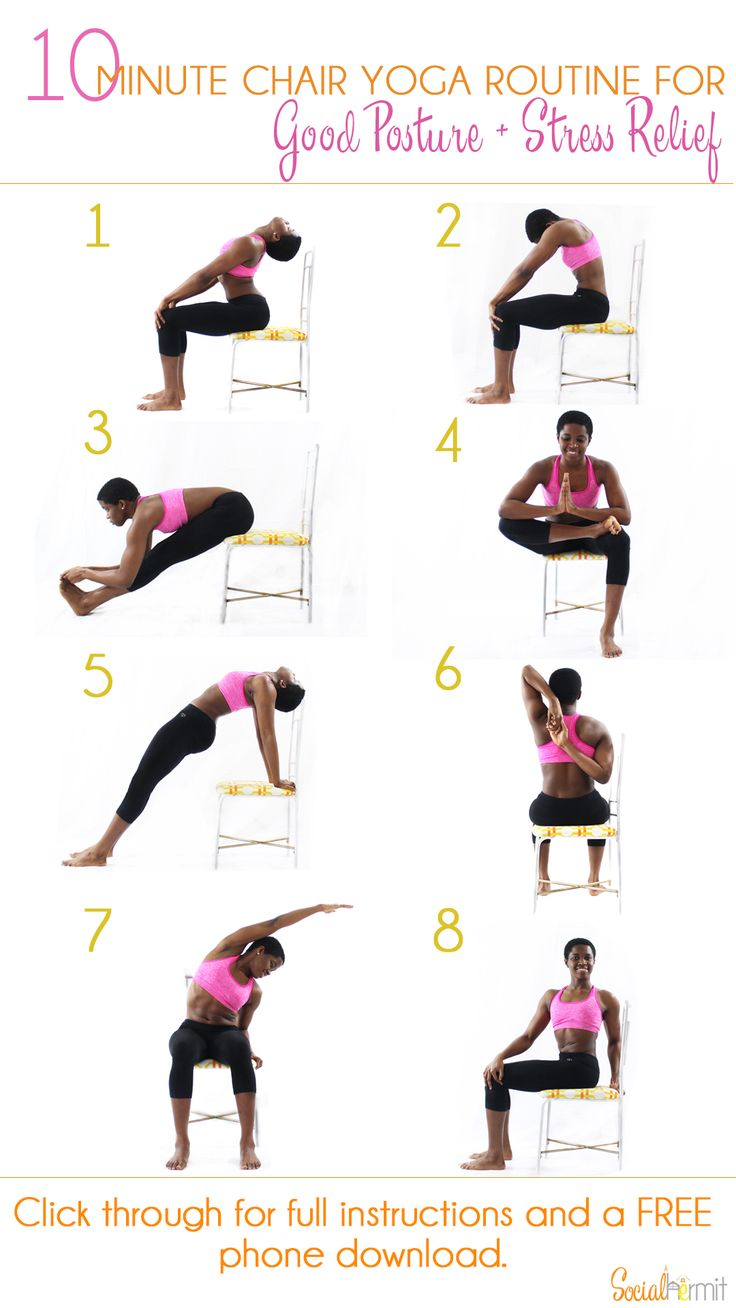 10 Minute Chair Yoga Routine for Good Posture and Stress Relief   Once you're done with this routine, you'll feel some of the pent up stress in your muscles from sitting down melt away and you'll be ready get some more work done! Click through for a FREE phone sized infographic.