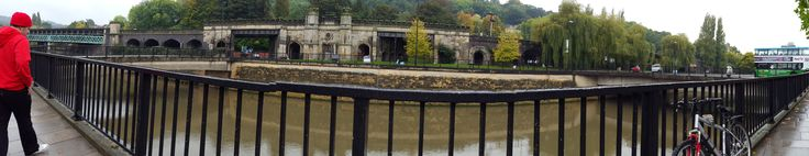 Panoramic view outside bus station, Bath
