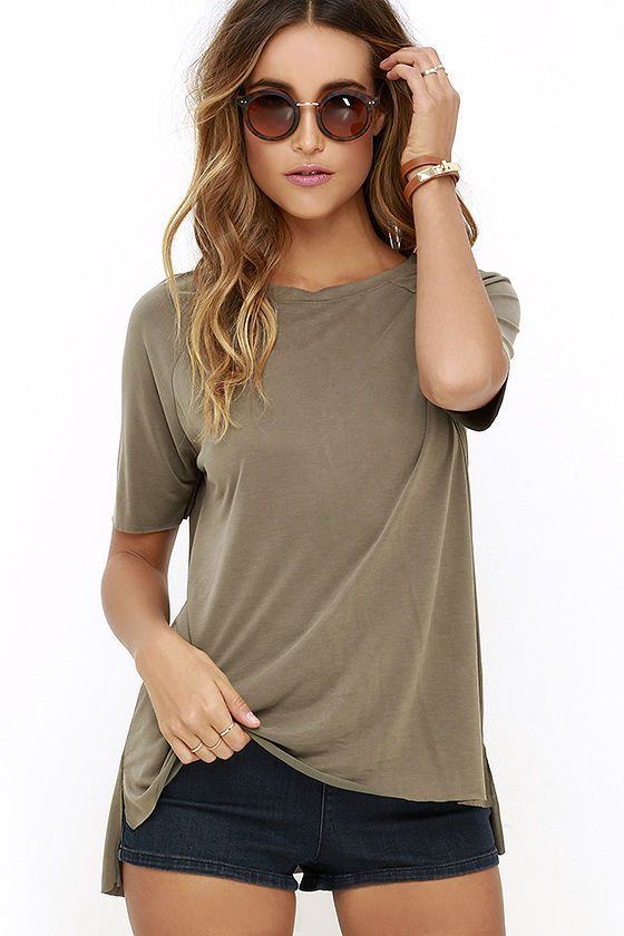 Right to Party Olive Green High-Low Tee at Lulus.com!