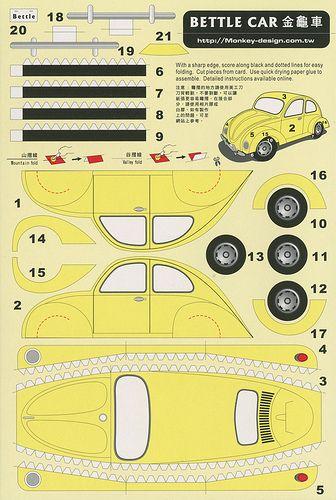 Bettle Car [sic] - Cut Out Postcard | Flickr: Intercambio de fotos
