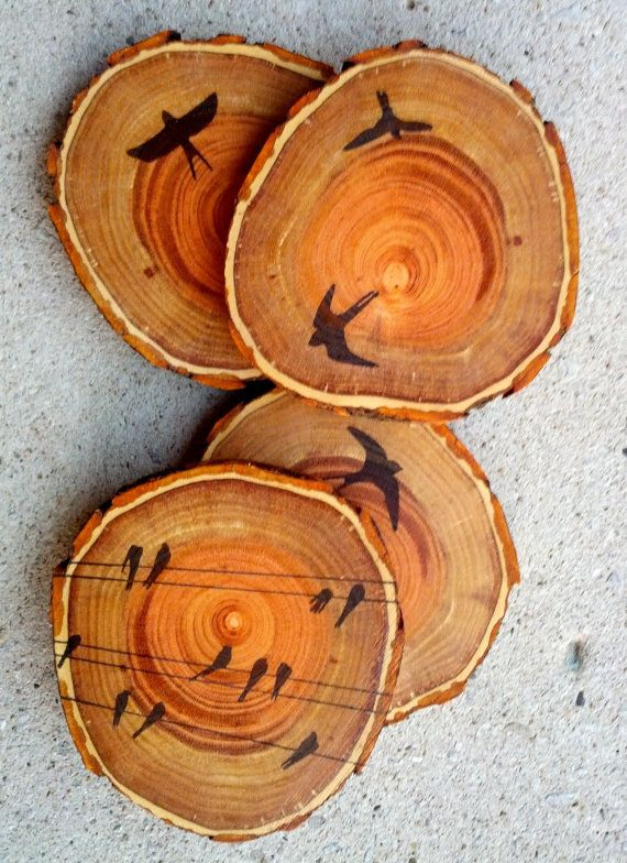 Coasters wood coasters rustic coasters rustic decor by for Diy rustic coasters