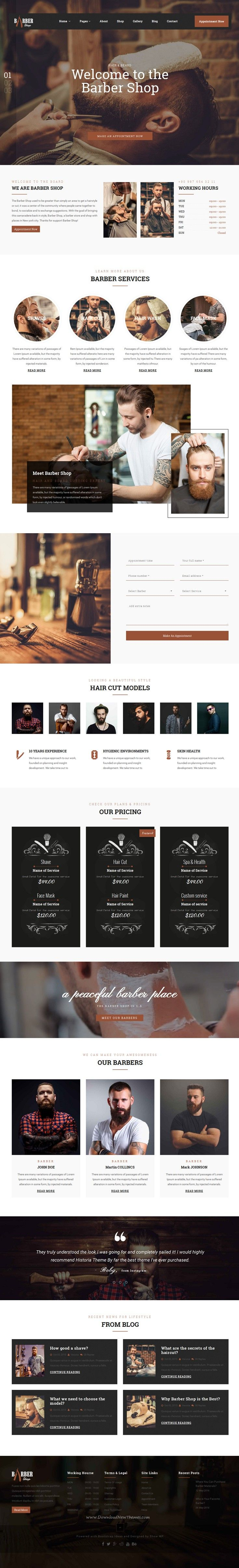 The Barber Shop is a Bootstrap HTML template design for professional #barber sites, hair salon or barber #shop #websites. Download Now!