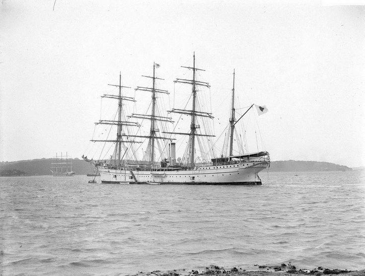 """Japanese training ship """"Taisei Maru"""" built in 1904 at Kobe . at anchor in Sydney Harbour, year unknown"""
