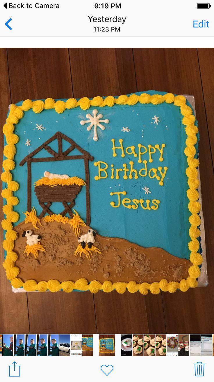Happy birthday Jesus cake for preschool Christmas party 2015.