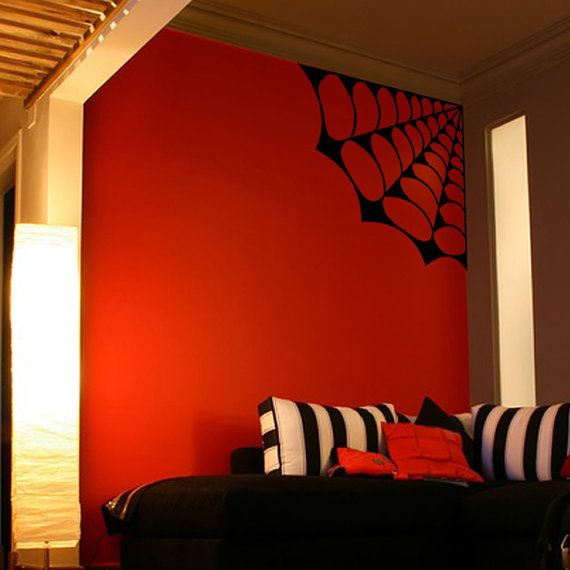 Large Spider Web Spooky Decor Vinyl Wall Art by Pillboxdesigns, $19.99 - good for halloween, gothic room or spiderman/spiderwoman room!