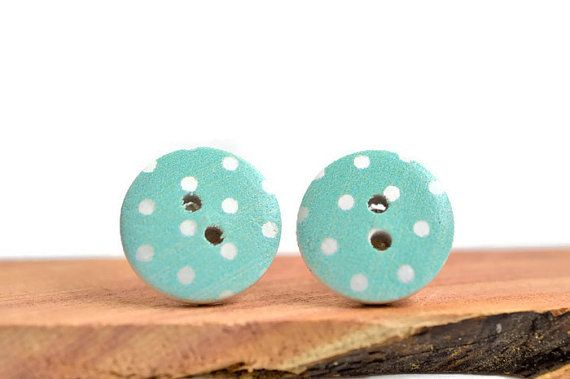 Pin up inspired,  polka dot button earring studs