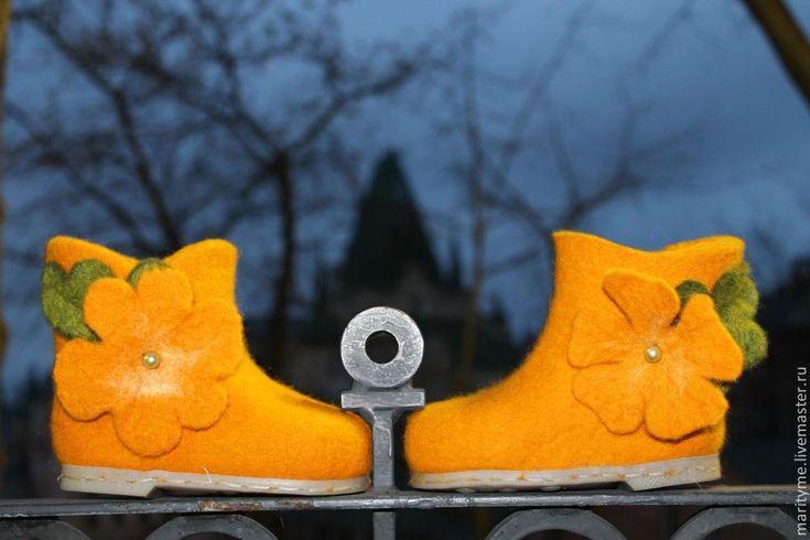 """Купить Валенки детские """"Тыковки"""" - оранжевый, детская обувь, валенки, валенки ручной работы"""