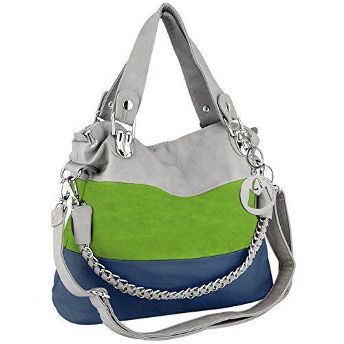 SUBLIMINAL SHOUTOUT! #GOSEAHAWKS!!!!!!! MG Collection MAWAR Green / Blue / Gray Chic Hobo Style Shoulder Handbag / Purse MG Collection