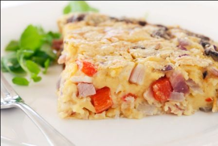 Ingredients 3 eggs 1 medium onion, chopped 1 cup grated cheese 1 tablespoon oil ½ cup self raising flour 1½ cups milk salt and freshly ground black pepper filling as desired - bacon, mushrooms, sal...