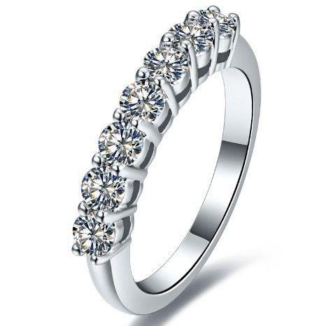 0.7 carat sona simulado de diamante anéis de casamento infinito para as mulheres, faixas de casamento de cerâmica, anéis de prata esterlina do transporte da gota