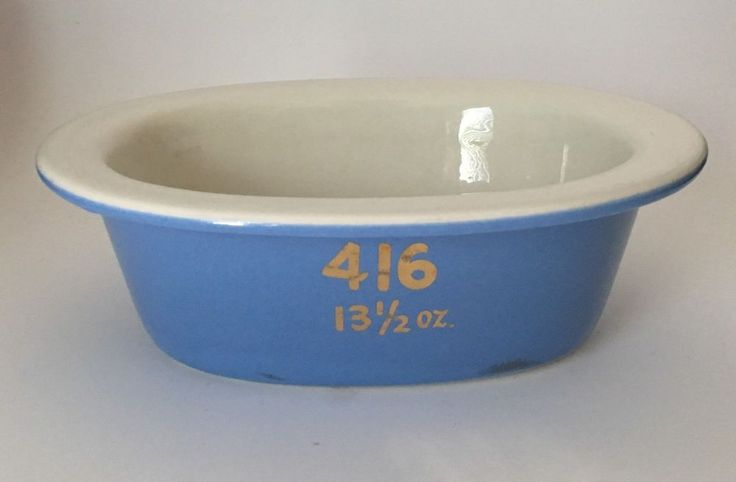 Hall pottery vintage 416 baking casserole ceramic dish blue white rose parade #Hall