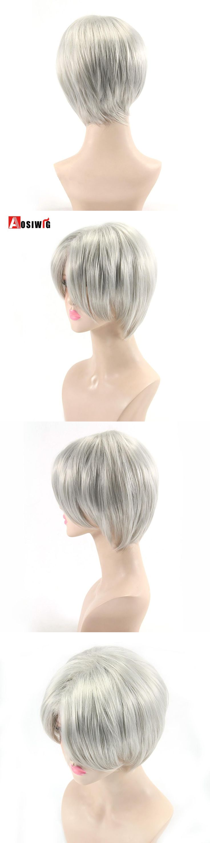 AOSIWIG Short Straight Hair Silver Wig Halloween Costumes Party Synthetic Hair High Temperature Fiber Cosplay Wigs