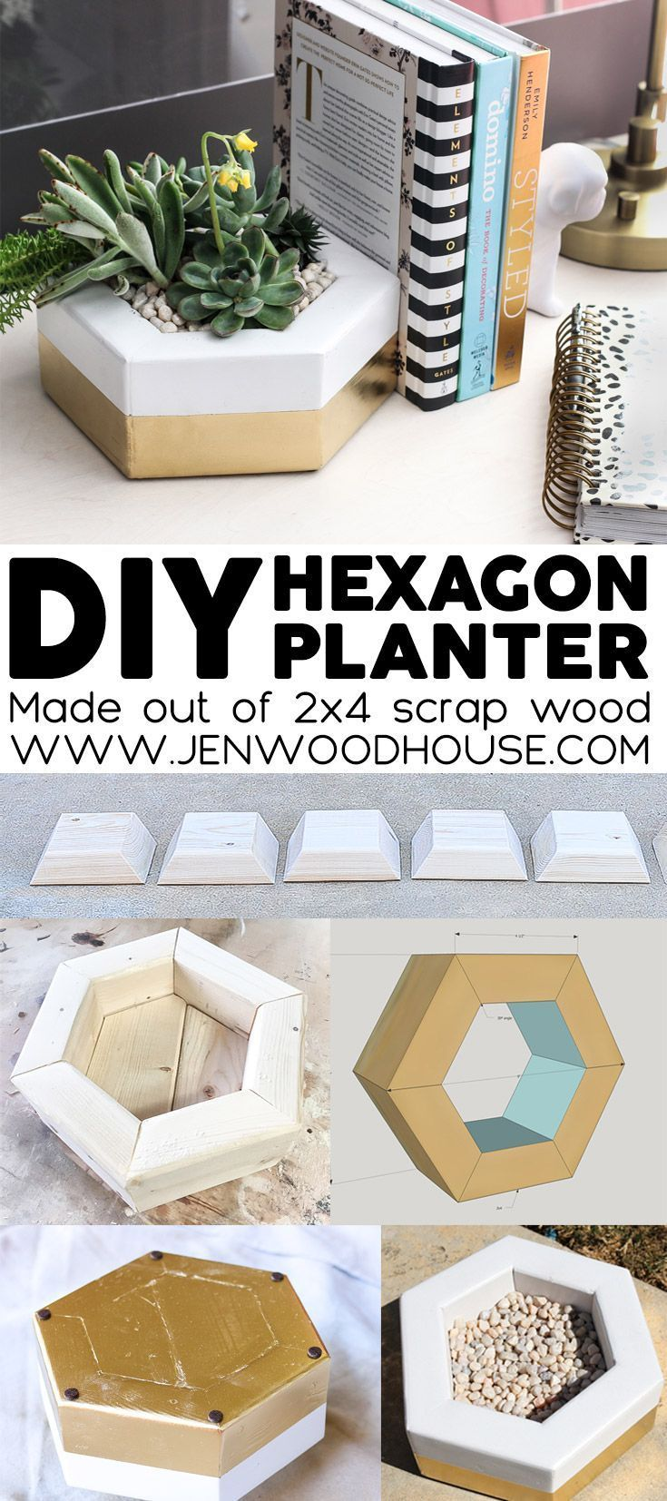 How to make a DIY hexagon planter out of 2x4 scrap wood   www.jenwoodhouse.com