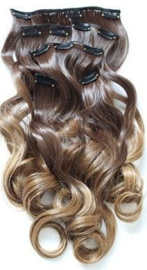 Synthetische clip in hair extension set / Ombre #8/27 / 130 gram