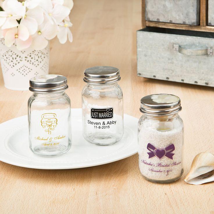 Silk screened Personalized 3.5 oz. glass mason jar