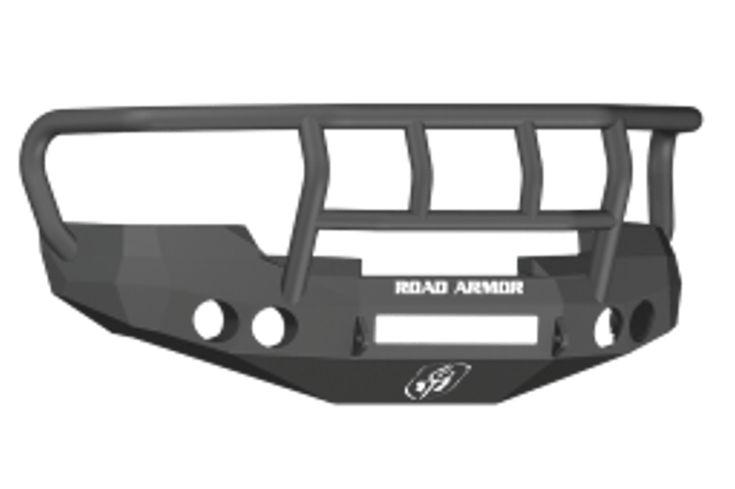 Road Armor 37702B-NW 2008-2013 Chevy Silverado 1500 Front Non-Winch Bumper Titan II Grille Guard, Black Finish and Round Fog Light Hole