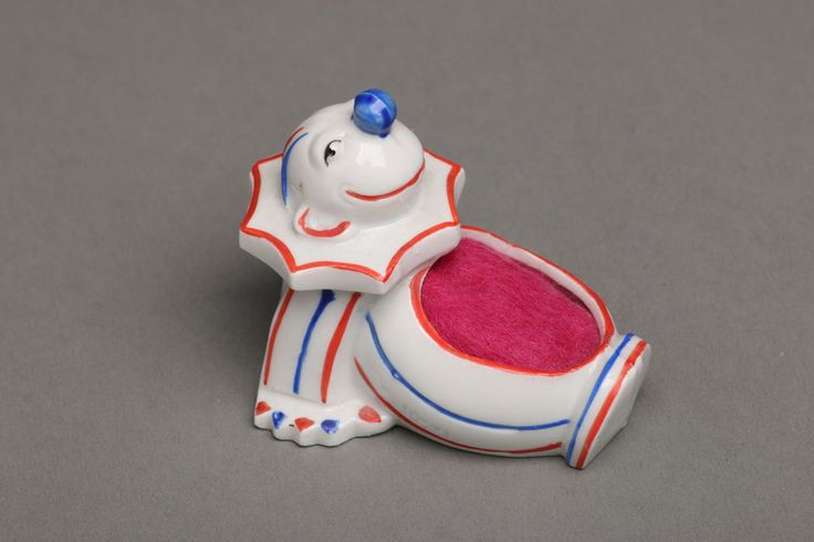 Vintage German Porcelain Art Deco Clown Pincushion, Reclining #ArtDeco
