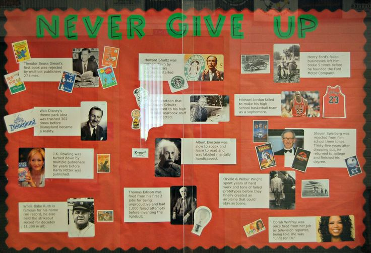 """Never Give Up bulletin board...highlights famous people who """"failed"""" but never gave up and achieved success. Complements growth mindset lessons."""