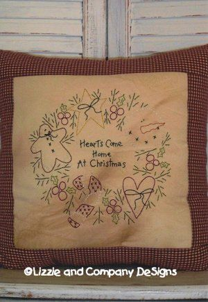 Hearts Come Home at Christmas stitchery