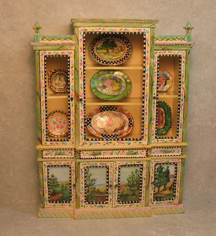 Hand Painted Altered Bespaq Cabinet And Hand Painted